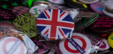 Badges with Union Jack in focus