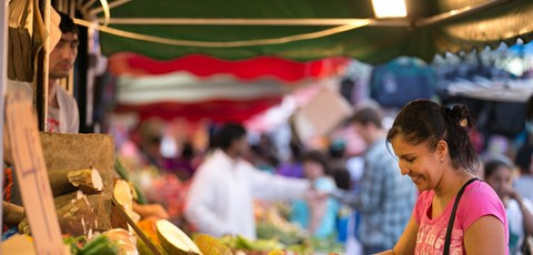 Woman at fruit stall